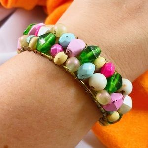 VINTAGE Pastel Candy Bead Gold Wired Bracelet